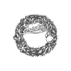 Christmas hand drawn wreath.