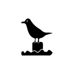 Sea gull sitting on the pier icon. Beach holidays simple icon. Travel element icon. Premium quality graphic design. Signs, outline symbols collection icon for websites, web design