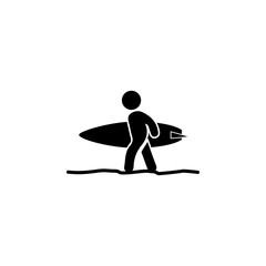 surfer icon. Beach holidays simple icon. Travel element icon. Premium quality graphic design. Signs, outline symbols collection icon for websites, web design