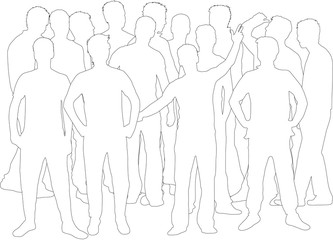Silhouette of a man. Group of people.