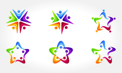 People connect logo,communication logo,family logo,vector logo template
