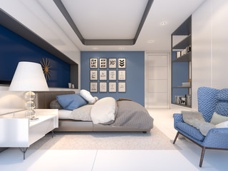White and blue bedroom style