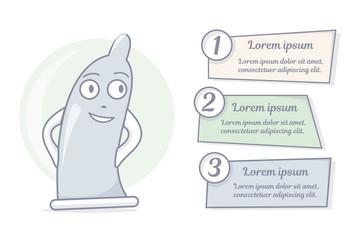 Cartoon condom character. Vector illustration.