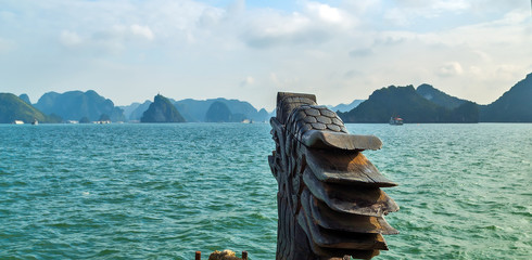 Ha Long bay green island Halong mountains Vietnam. Dragon boat