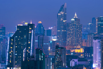 Fotobehang Kuala Lumpur Bangkok downtown at night.