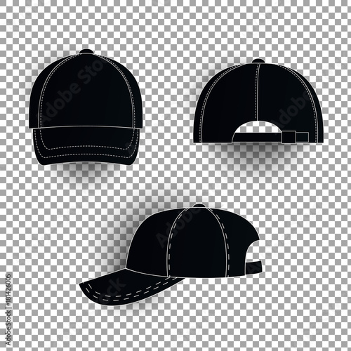 White and black baseball cap icon set. Front view. Design template ...