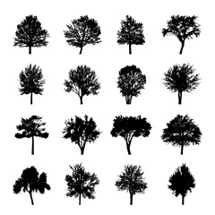 Black tree silhouettes Nature Forest Vector Illustration