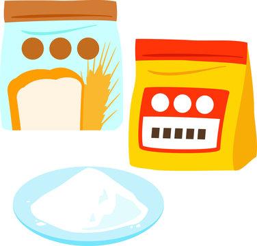 袋入りの小麦粉と皿に盛った小麦粉