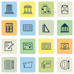 Education Icons Set With Opened Book, Electronic Tool, Paper And Other Academy   Elements. Isolated Vector Illustration Education Icons.