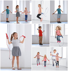 Collage of children with jumping ropes indoors
