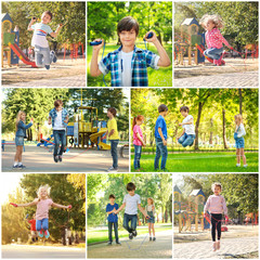 Collage of children with jumping ropes outdoors