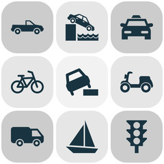 Shipment Icons Set With Yacht, Skooter, Cabriolet And Other Vehicle