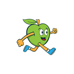 fitness run fruit mascot cartoon illustration