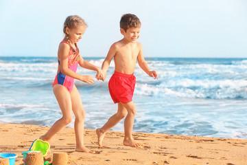 Cute little children on sea beach