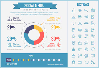 Social media infographic template, elements and icons. Infograph includes customizable pie chart, graph, line icon set with social media, global network, electronic mail, internet technology etc.