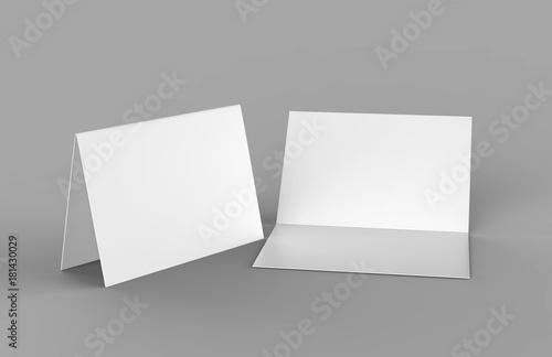 Bi fold or Horizontal half fold brochure mock up isolated on