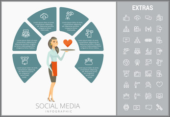 Social media infographic template, elements and icons. Infograph includes customizable circular diagram, line icon set with social media, global network, electronic mail, internet technology etc.