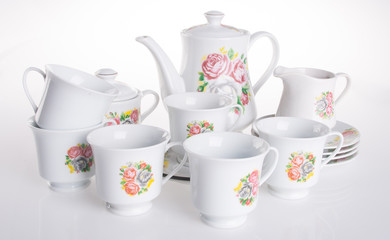 tea sets. tea sets on a background