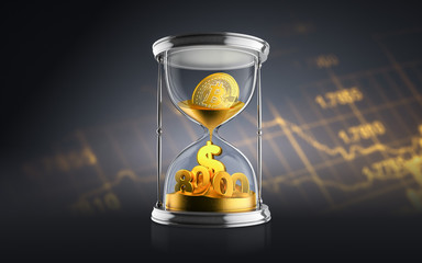 Bitcoin breaks $ 8000 barrier amid speculation over spin-off. Bitcoin concept with hourglass falling golden sand taking the shape of a coin on a chart dark background. 3d render