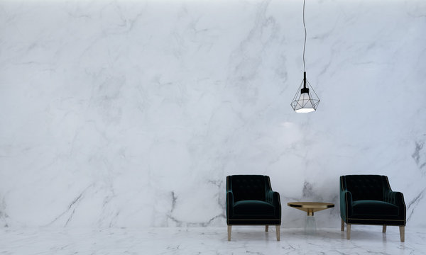 The luxury lounge and living room and marble texture wall