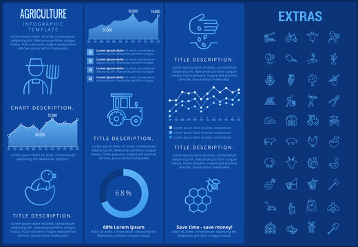 Agriculture infographic template, elements and icons. Infograph includes customizable graphs, charts, line icon set with agriculture food, farm animal, agricultural business, organic vegetables etc.