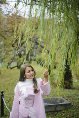 Portrait of japanese girl in autumn background