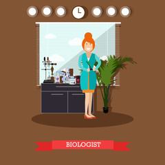 Biologist concept vector illustration in flat style