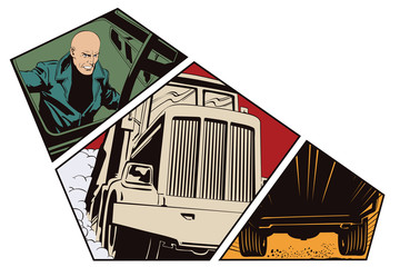 Stock illustration. Man looks into cab of truck.