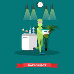 Scientific experiment concept vector flat illustration