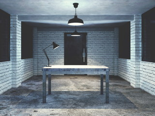 3d render from imagine dark dirty interview room for investigation mood table only