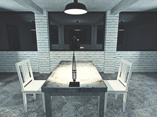 3d render from imagine dark dirty interview room for investigation mood back of lamp
