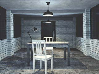 3d render from imagine dark dirty interview room for investigation mood  with chair table