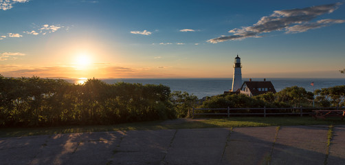 Panorama of Portland Lighthouse at sunrise in Cape Elizabeth, Maine, USA.