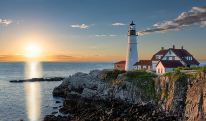 Portland Head Light at sunrise in Cape Elizabeth, Maine, USA.