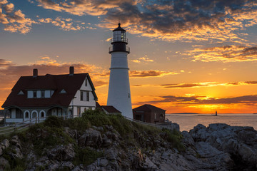 The Portland Head Light in Cape Elizabeth, Maine, USA. Photographed at sunrise.