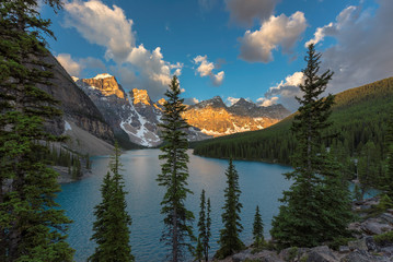 Rocky Mountain view at Moraine Lake in Banff National Park.
