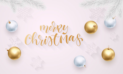 Christmas holiday greeting card background template of golden ball decorations and gold quote text calligraphy on Christmas tree. Vector New Year confetti on luxury white background