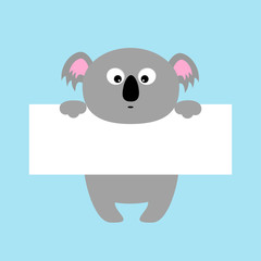 Funny koala hanging on paper board template. Big eyes. Kawaii animal body. Cute cartoon character. Baby card. Flat design style. Blue background Isolated