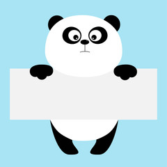 Funny panda bear hanging on paper board template. Big eyes. Kawaii animal body. Cute cartoon character. Baby card. Flat design style. Blue background Isolated