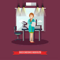 Recording results concept vector illustration in flat style