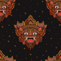 Seamless pattern with barong mask. Hand drawn design for fashion, textile, fabric, wrapping paper, tiles, website wallpaper, background.