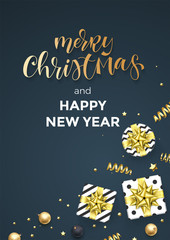 Merry Christmas and Happy New Year greeting card vector background template of golden calligraphy text. Vector Christmas gifts, golden ribbon and gold glitter confetti ball decoration on premium black