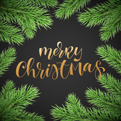 Merry Christmas holiday greeting card background template of golden text hand drawn calligraphy in Christmas tree fir branch frame. Vector New Year festive winter decoration wreath on premium black
