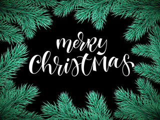 Merry Christmas holiday greeting card background template of text hand drawn calligraphy in Christmas tree fir branch frame. Vector New Year festive winter decoration wreath on premium black