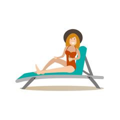 Deckchair vector illustration in flat style