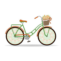 Vector illustration. Vintage women's Bicycle with unusual openwork wheels and a basket of flowers.