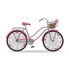 Vector illustration. Gentle pink vintage ladies Bicycle with unusual openwork wheels with hearts and basket.