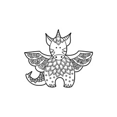 Cute dragon black and white vector illustration on a white background.