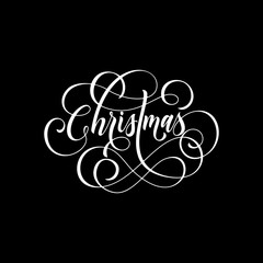 Merry Christmas flourish hand drawn swash calligraphy lettering of ornamental line typography for greeting card design. Vector festive Christmas holiday quote text on black background
