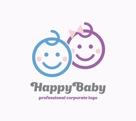 Baby Logo, Child Vector Logo. Happy Kids symbol.